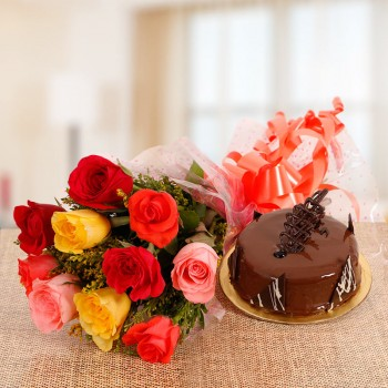 10 Mix Roses with Half Kg Chocolate Truffle Cake