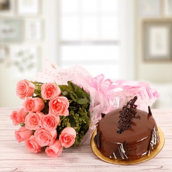 10 Pink Roses with Half Kg Chocolate Cake