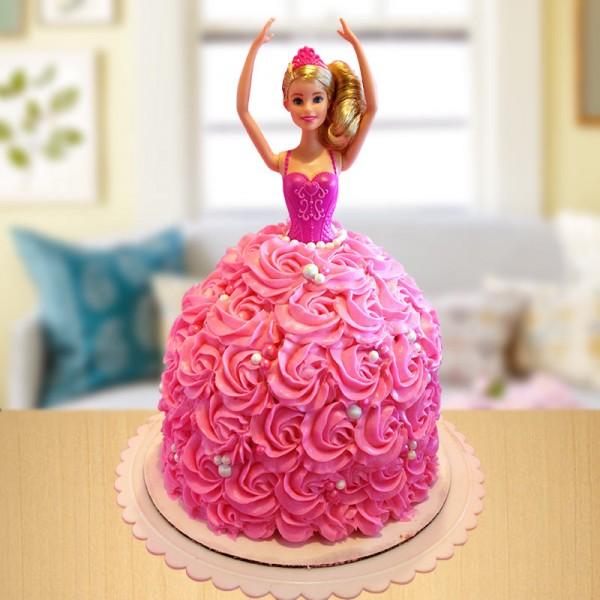 2 Kg Barbie Theme Vanilla Cream Cake