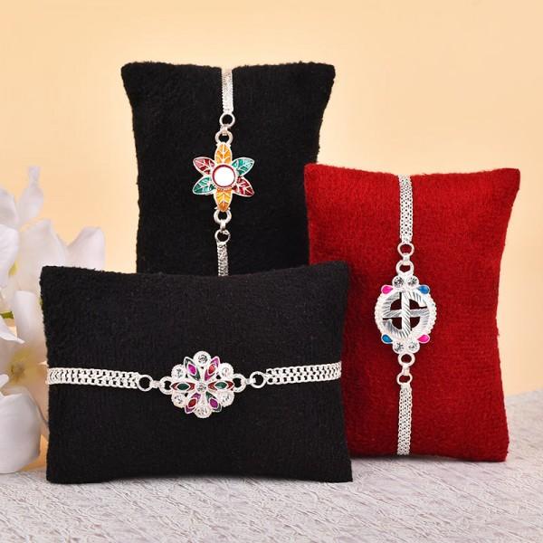 Set of 3 Silver Bracelet Rakhis