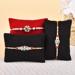 Set of 3 Silver Pearl Rakhis