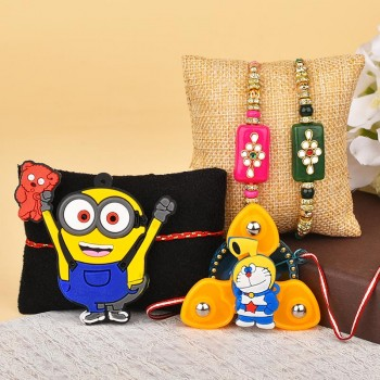 Kundan N Cartoon Kids Rakhi Combo