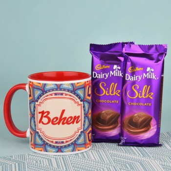 Rakhi Coffee Mug with Dairy Milk Silk Chocolate for Sister
