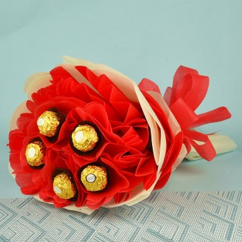 5 Ferrero Rocher Chocolate Bouquet in Red and White paper packaging