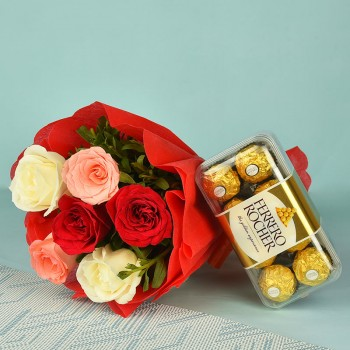 6 Colorful Roses in Red paper packing with 16 Pcs Ferrero Rocher Chocolates (200 gms)