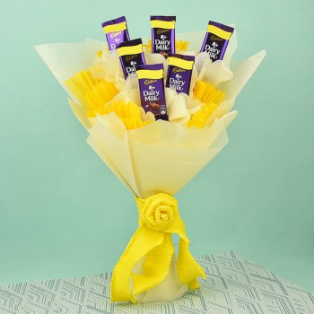 Bouquet of 6 Dairy Milk Chocolates in white and yellow paper packing