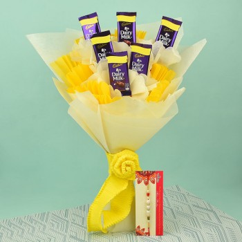Pearl Rakhi N Dairy Milk Chocolate Bouquet