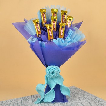 Bouquet of 8 5-Star Chocolates in blue and purple paper packing