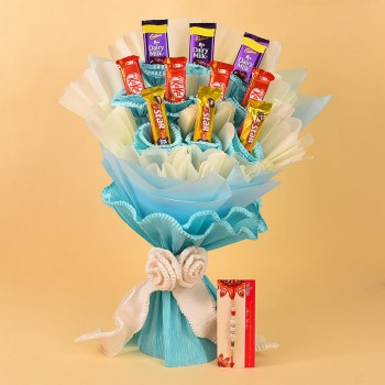 Pearl Rakhi N Delicious Chocolate Bouquet
