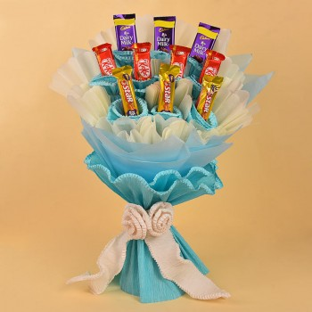 Bouquet of 10 Mixed Chocolates (Kitkat,Five Star and Dairy Milk Chocolate)