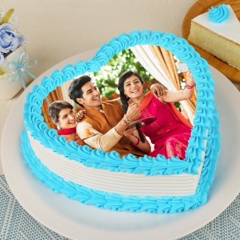 1 Kg Heart Shape Photo Pineapple Cake For Rakhi