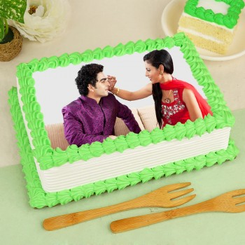 1 Kg Photo Pineapple Cake For Rakhi
