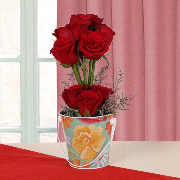 10 Red Roses in Tin Bucket
