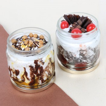 Set of 2 Butterscotch and Black Forest Jar Cake