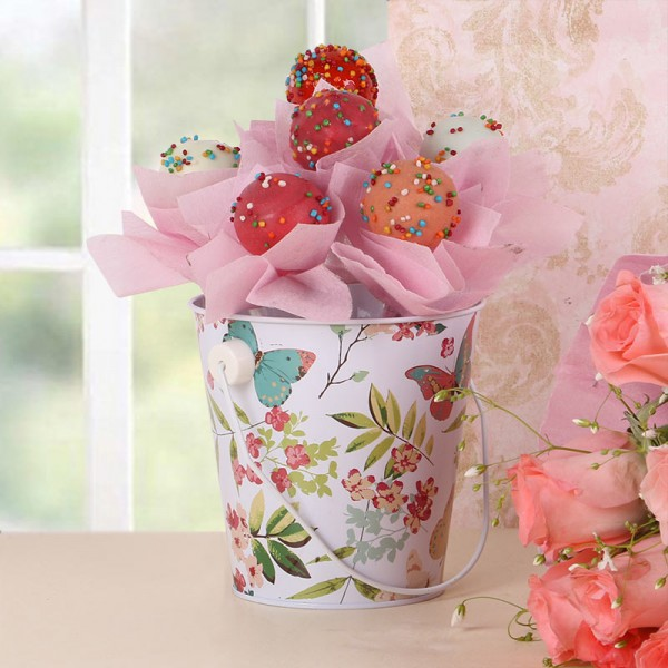 6 Cake Pops with 1 Tin Bucket