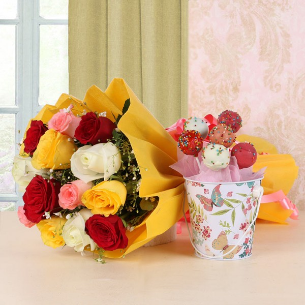 12 Assorted Roses in Yellow Paper with Arrangement of 6 Cake Pops and 1 Tin Bucket
