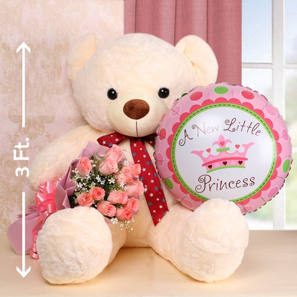 12 Pink Roses in Pink Paper with Helium Balloon and Teddy Bear 3ft.