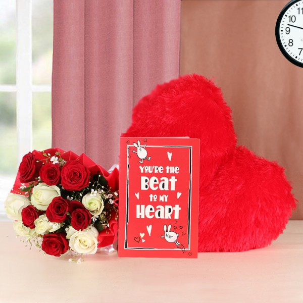 12 Red and White Roses with Red Heart-shaped fur Cushion (12 inches) and 1 Greeting Card in Red Paper