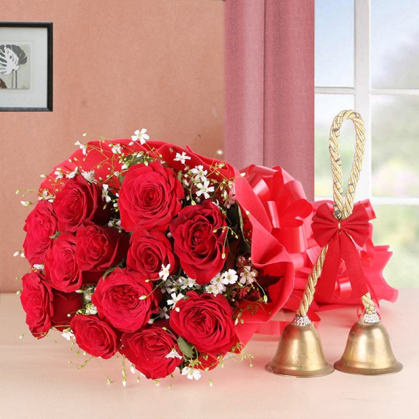 12 Red Roses in Golden Paper with 2 Golden Love Bells