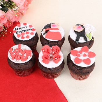 6 Designer Fondant Chocolate Cupcakes for Birthday