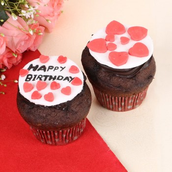 2 Designer Fondant Chocolate Cupcakes for Birthday