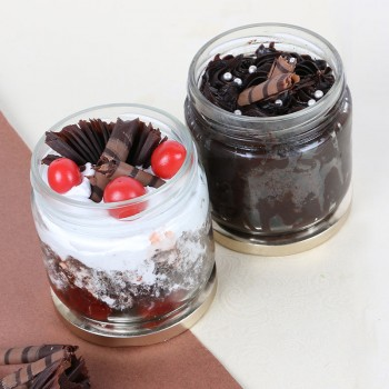 Set of Chocolate Truffle and Black Forest Jar Cake