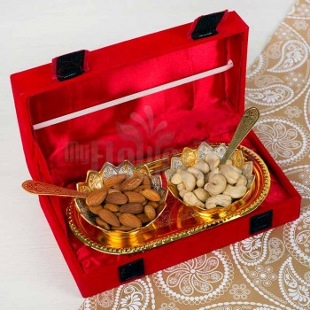Golden Bowl Set with Dryfruits