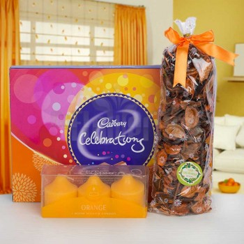 Scented Candles with Cadbury Celebration and Artifical Petals for Decoration