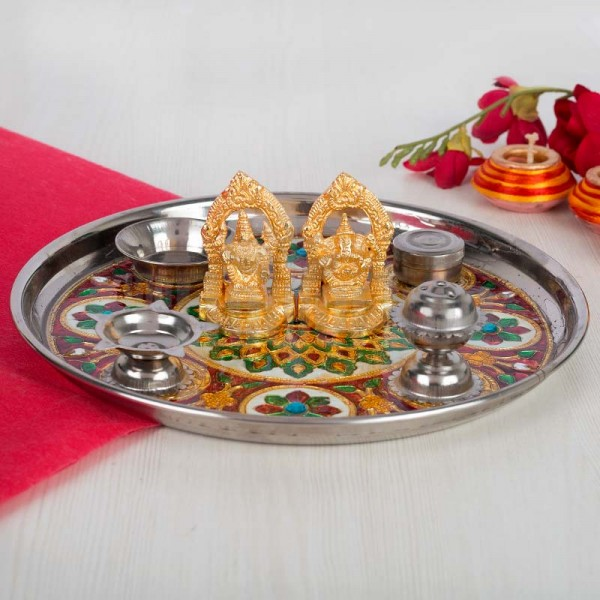 Pooja Thali Set with Golden Laxmi Ganesha