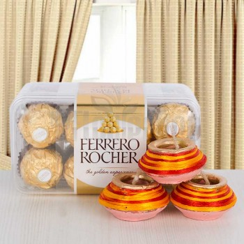 Diwali Diyas with 16 Pcs Ferrero Rocher Chocolate
