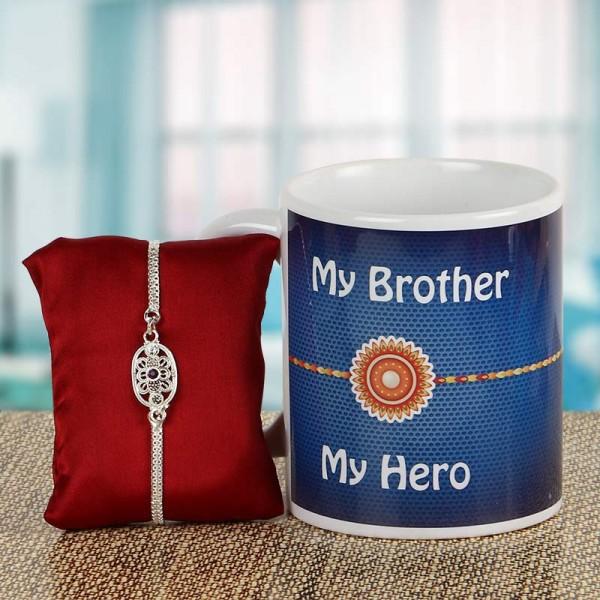 Silver Rakhi with Mug