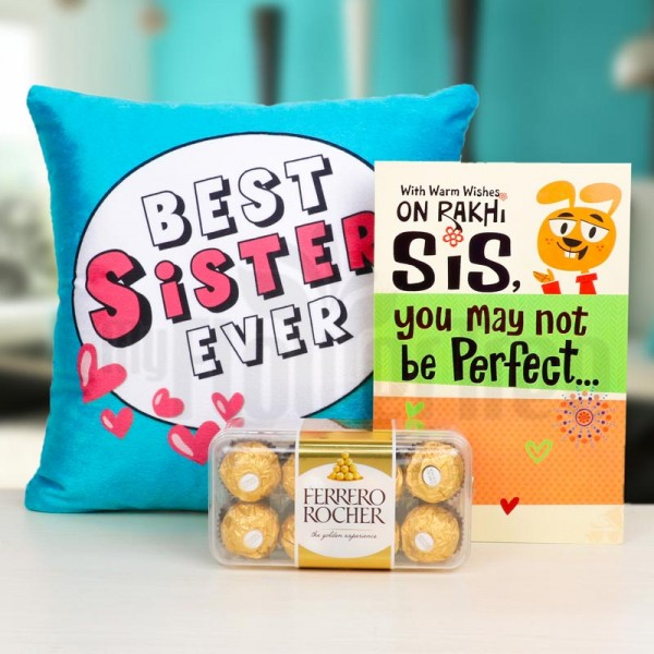 Best Sister Ever Printed Cushion with 16 pcs Ferrero Rocher Chocolate and Greeting Card