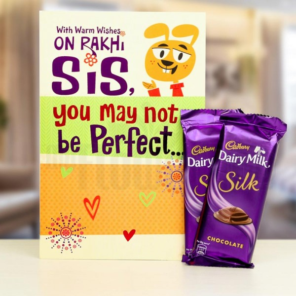 Greeting Card and Dairy Milk Silk Chocolate for Sister