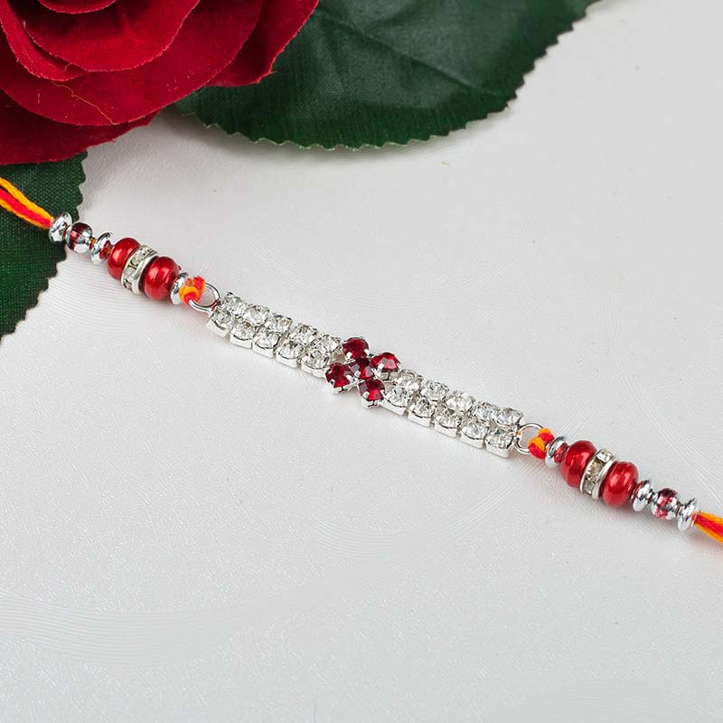 Silver and Red Rakhi