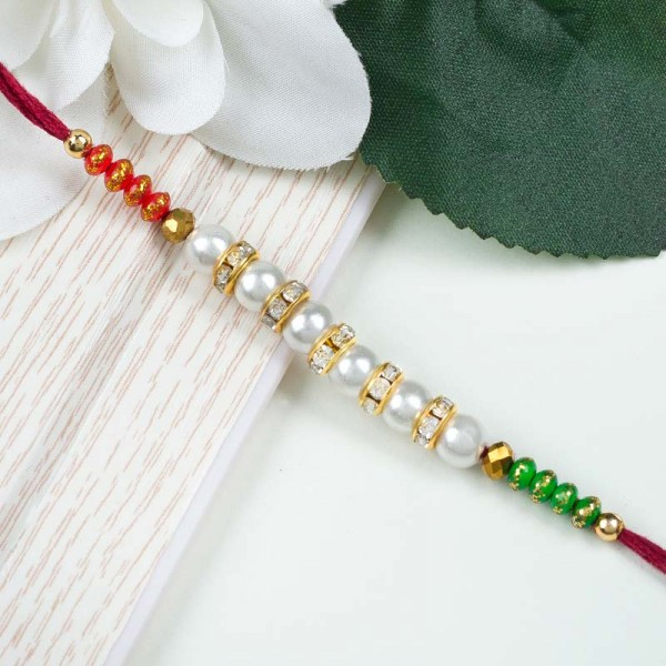 Green Red Pearl Rakhi