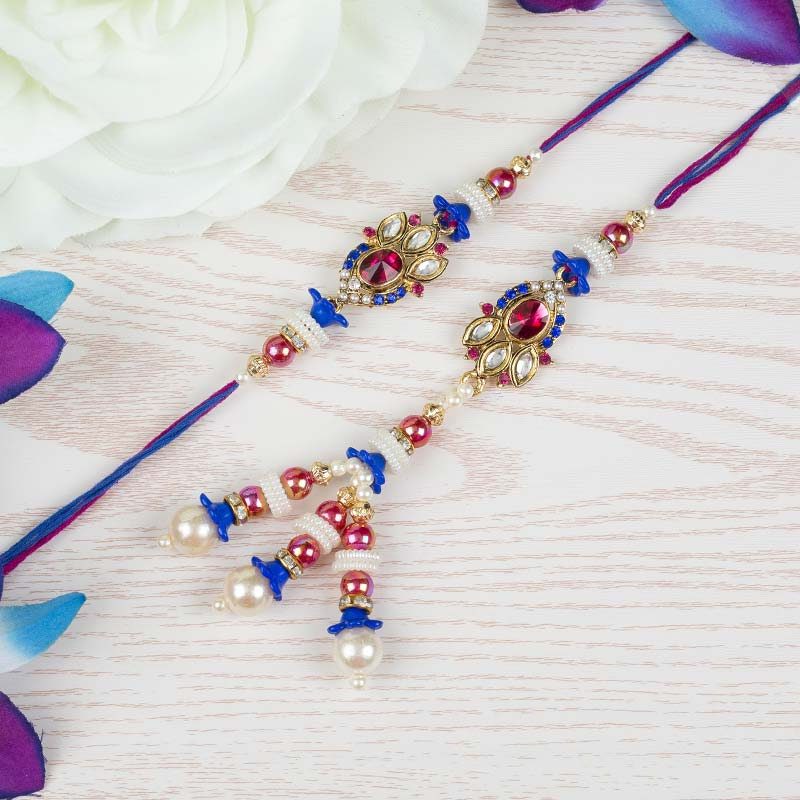 Blue Pink Ruby Rakhi Set