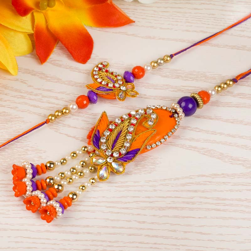 Orange Swaroski Rakhi Set