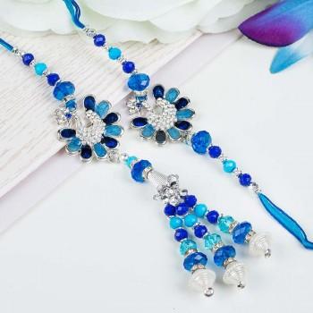 Blue Peacock Rakhi Set