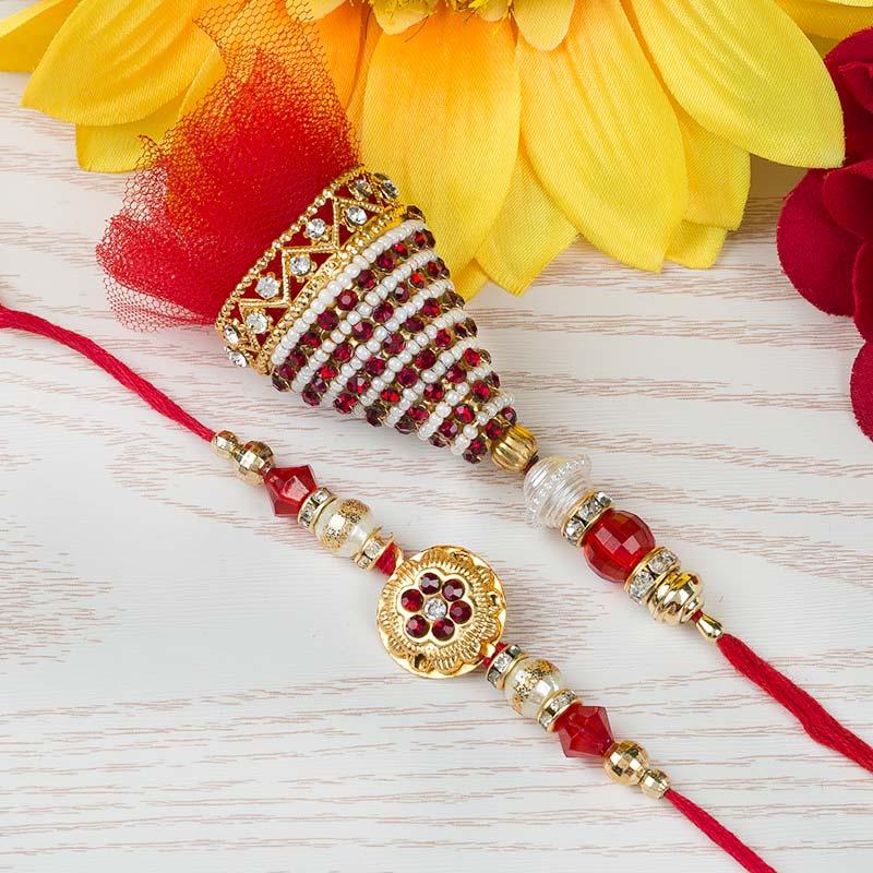 Red Ruby Rakhi Set