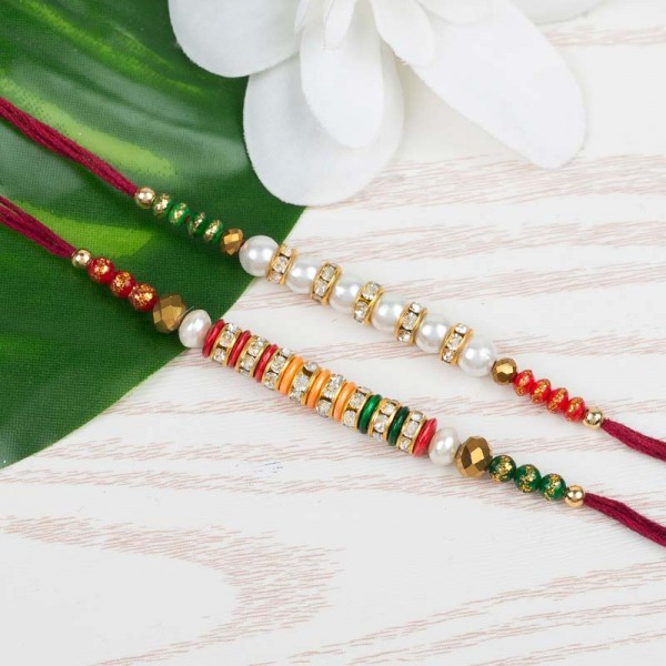 Tricolour And Pearl Rakhi Set