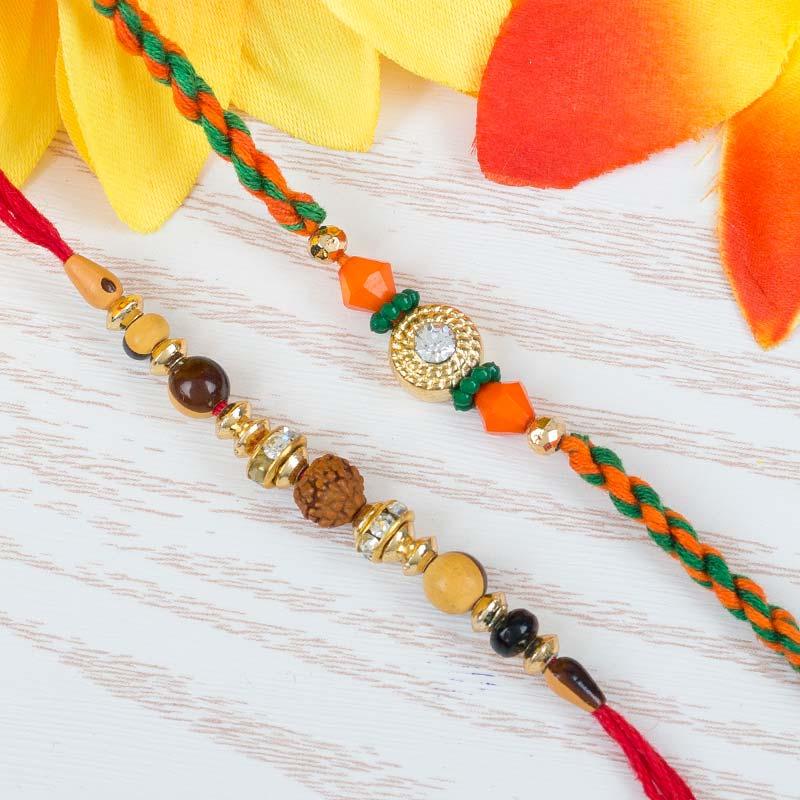 Single Rudraksh And Orange Rakhi Set