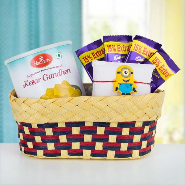 Sweet Minion Rakhi Basket