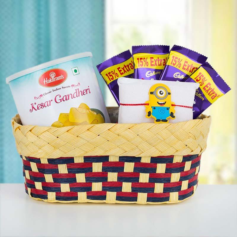 Sweet Minion Rakhi Basket