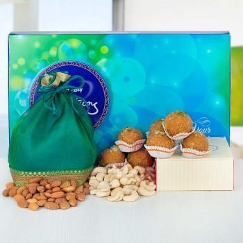 Cadbury Celebration with Besan Ladoo and Dryfruits Potli