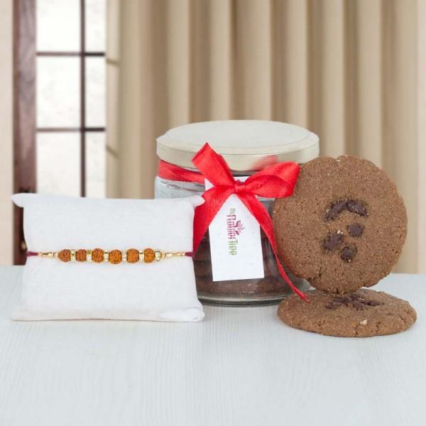 Cookie Jar with 6 Rudraksha Rakhi