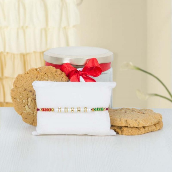 Cookie Jar with Pearl Rakhi