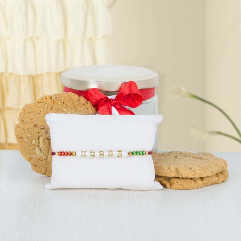 Cookie Jar with Pearl Rakhi