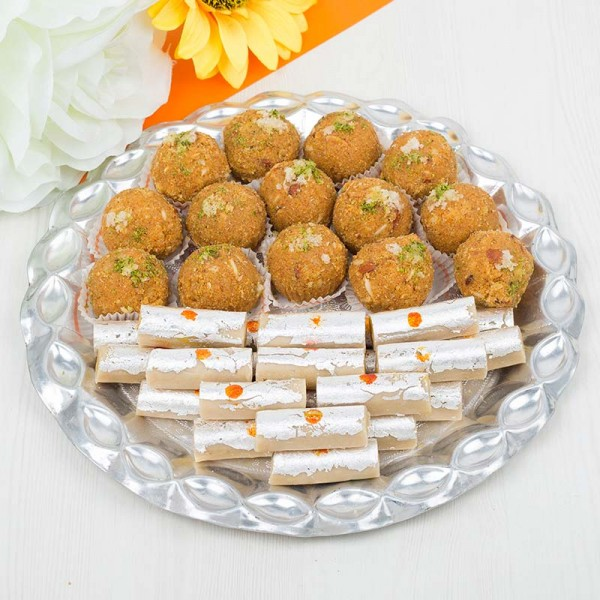 Designer Thali of Kaju Rolls and Besan Laddoo