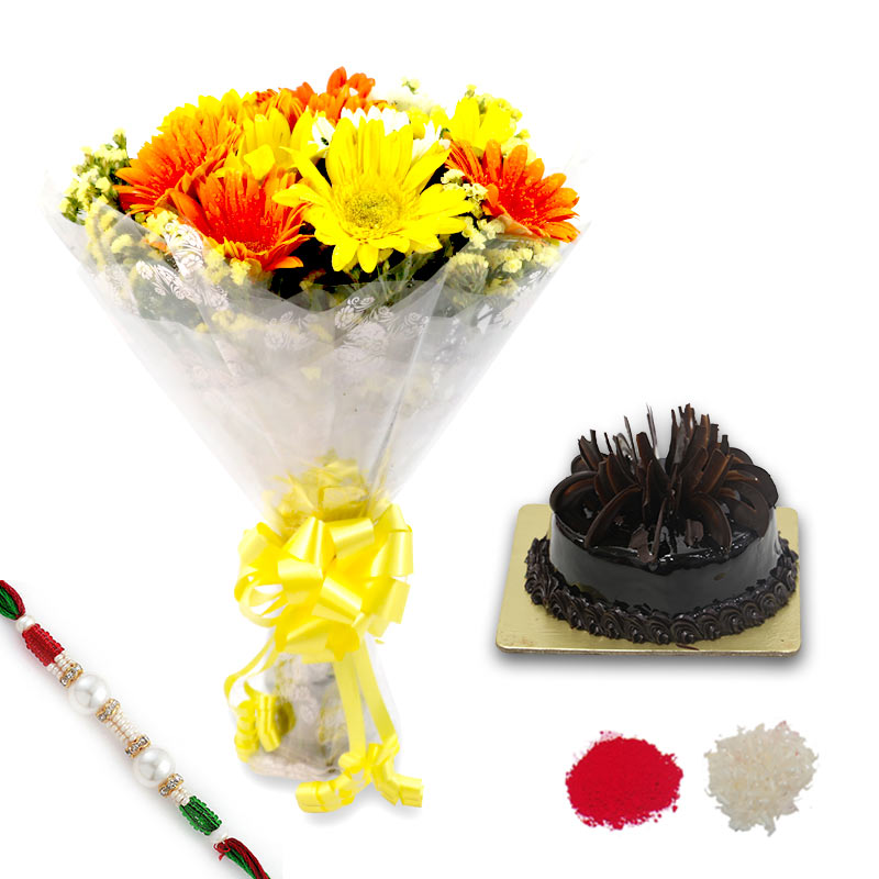 Cake and Flower Rakhi