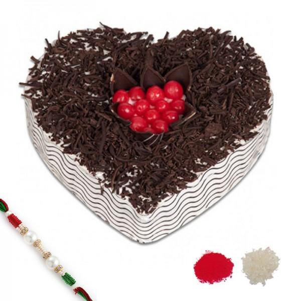 1 Kg Black Forest Heart Shape Cake with Rakhi